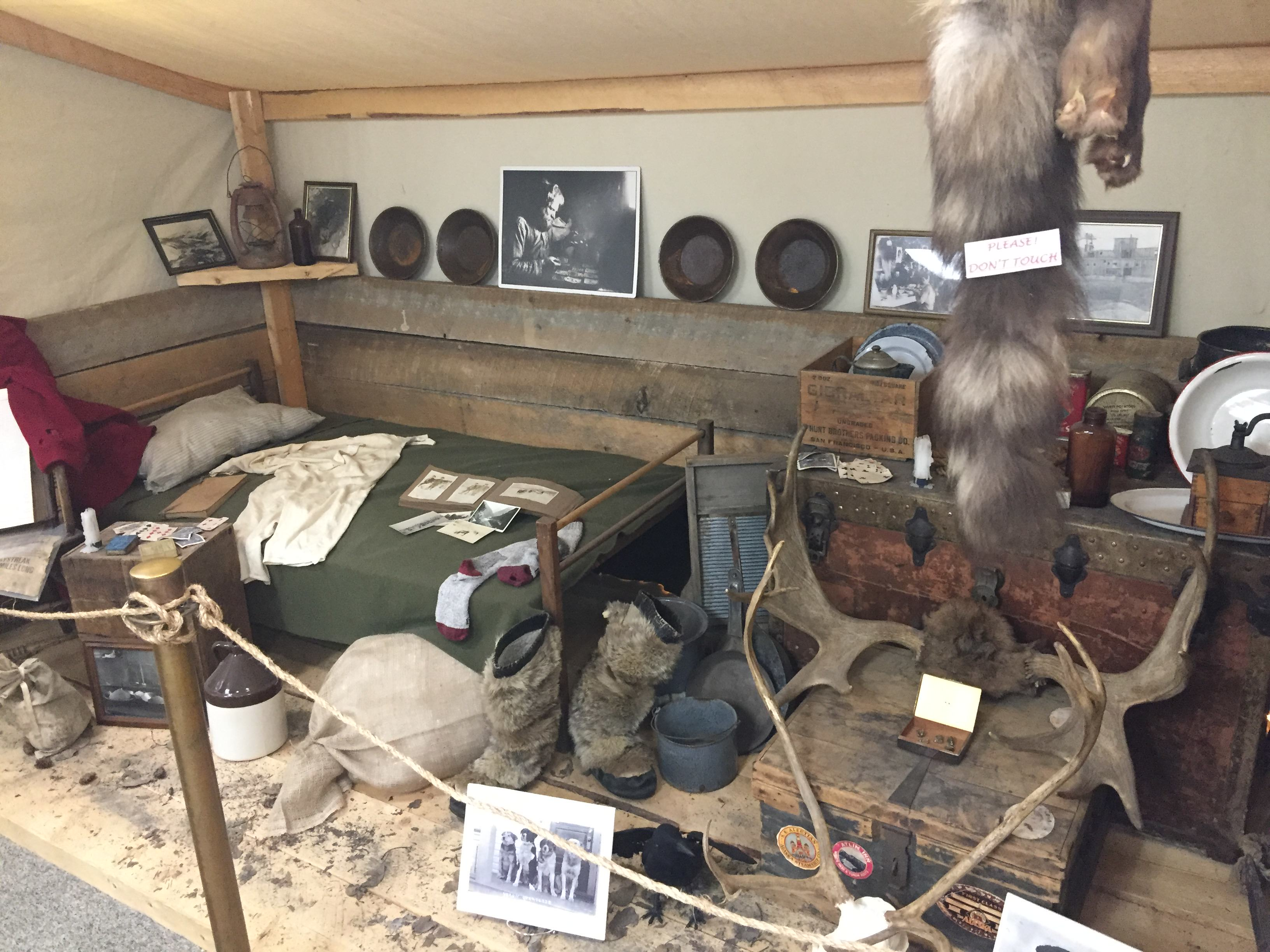 Miner/Fur trapper's cabin recreation in the Fairbanks Community Museum